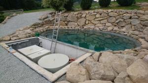 Teich fertig ohne Abdeckung und Holzhäuschen