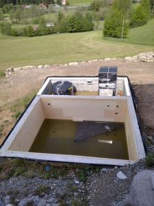 Teich vor Folierung nach Starkregen
