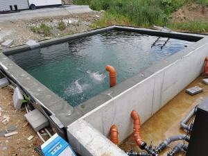 Teich nach Befüllung in Betrieb